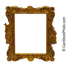 ancient art pattern wood frame isolated over white...