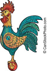 Decorative isolated cock. Vector illustration
