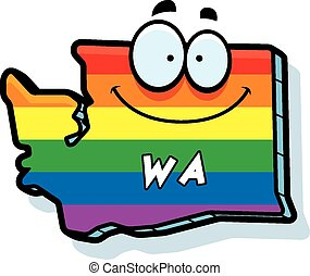 Cartoon Washington Gay Marriage - A cartoon illustration of...