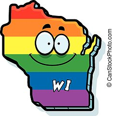 Cartoon Wisconsin Gay Marriage - A cartoon illustration of...
