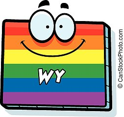 Cartoon Wyoming Gay Marriage - A cartoon illustration of the...