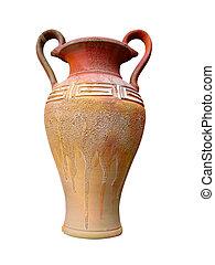 vintage pattern decor vase isolated on white background