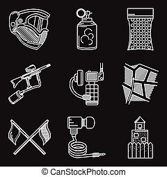 Set of white line vector icons for paintball - White flat...