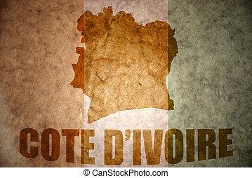 cote divoire vintage map - cote divoire map on a vintage...