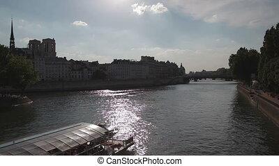 Tourist boat sailoring Sena river, France