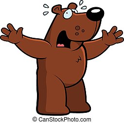 Cartoon Bear Scared - A cartoon illustration of a bear...