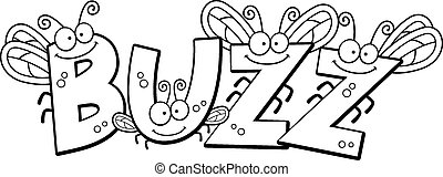 Cartoon Buzz Fly Text - A cartoon illustration of the text...