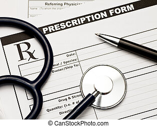 Vet Rx - Blank veterinarian prescription form with...