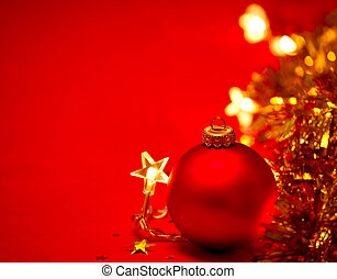Christmas decoration - Red Christmas bauble with star-shaped...