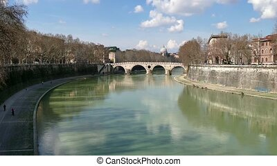 Landscape River Tiber Rome Italy - City view of Rome, Roma,...