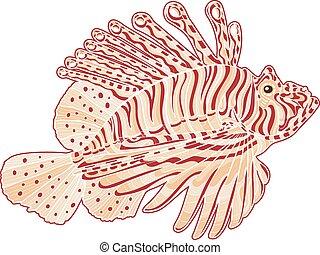 Decorative isolated poison lion fish Vector illustration