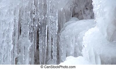 Frozen Waterfall In The park