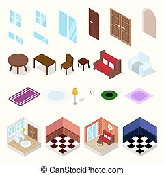 Isometric rooms with furniture, lighting ang carpets.