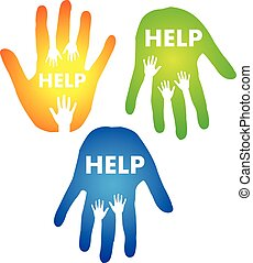 Helping Hands Concept. Creative vector concept with hands...