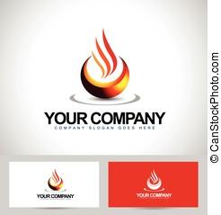 Fire Flames Abstract Logo Design. Creative vector logo with...