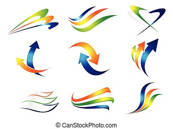 Swashes and Arrows Design Elements. Colorful vector arrows...