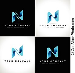 Letter N Logo - Abstract letter N logo design on black and...