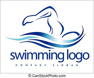 水泳, ロゴ, デザイン,
