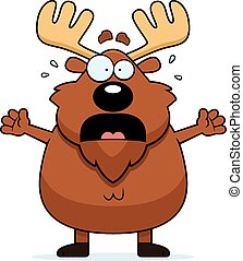 Scared Cartoon Moose - A cartoon illustration of a moose...