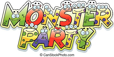 Cartoon Monster Party Text - A cartoon illustration of the...