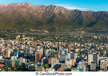 Santiago de Chile - Panoramic view of Santiago de Chile and...