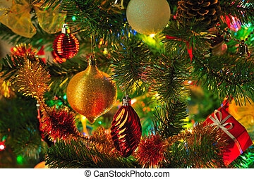 Christmas background - decorated Christmas fir tree with...