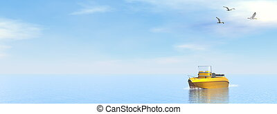 Pleasance boat - 3D render - Small pleasance boat on the...