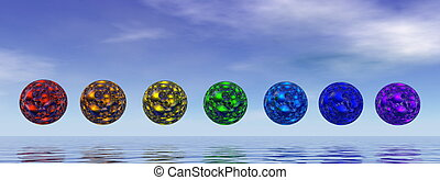 Chakra spheres - 3D render - Colorful chakra spheres by day-...
