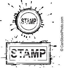 Set of grunge distressed stamps. Vector illustration Eps 8.