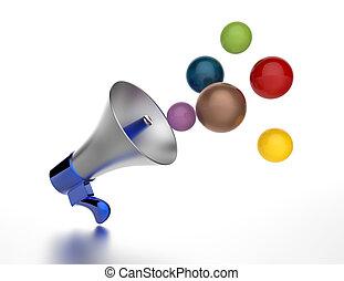 alto-falante, como, anúncio, icon.,