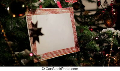 Christmas tree with postcard-placeholder on it