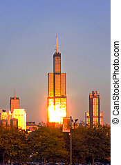 Willis Tower in Evening Light - A view from the west side of...