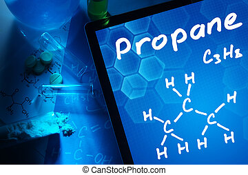 propane - Tablet with the chemical formula of propane.