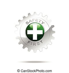 Safety first symbol on gear icon