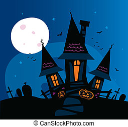 Haunted scary house - Old scary mansion Vector Illustration...