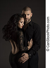 Couple Man and Woman in Love, Fashion Beauty Portrait of...