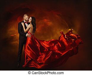 Elegant Couple Dancing in Love, Woman in Red Clothes and...