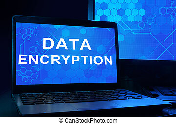 Notebook with words Data Encryption. Internet technology...