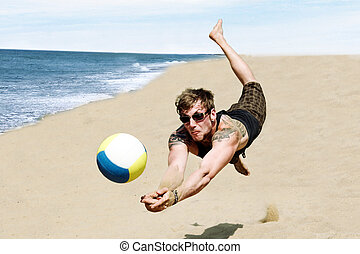 Beach Volley - Photo Of A Young Man In A Dynamic Jump...