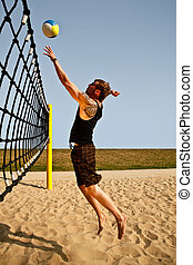Volley Net Jump - Dynamic Jump To The Net For A Volleyball...
