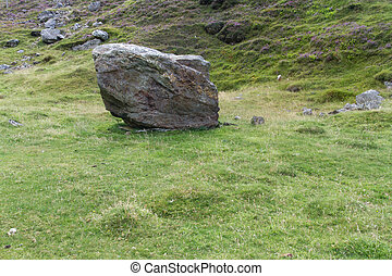 Drwy y Coed, Snowdonia, boulder that destroyed the chapel -...