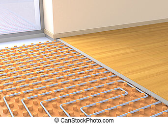 floor heating system - one room with a floor heating system...