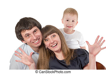 Happy family mother father and son - Portrait of happy...