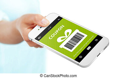 hand holding mobile phone with spring discount coupon over...