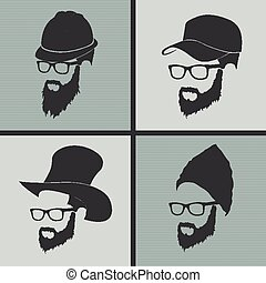 icons hairstyles beard and mustache hipster full face - icon...