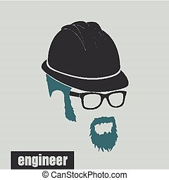 icons engineer hairstyles beard and mustache hipster full...