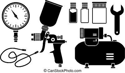 verpulveren, schilderij, equipment, ,