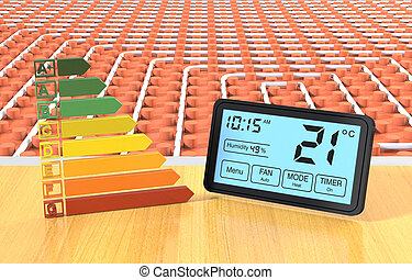 floor heating system - close up view of a floor heating...