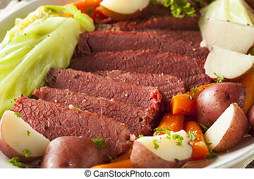 Homemade Corned Beef and Cabbage with Carrots and Potatoes