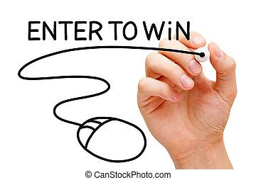 Enter to Win Mouse Concept - Hand drawing Enter to Win...